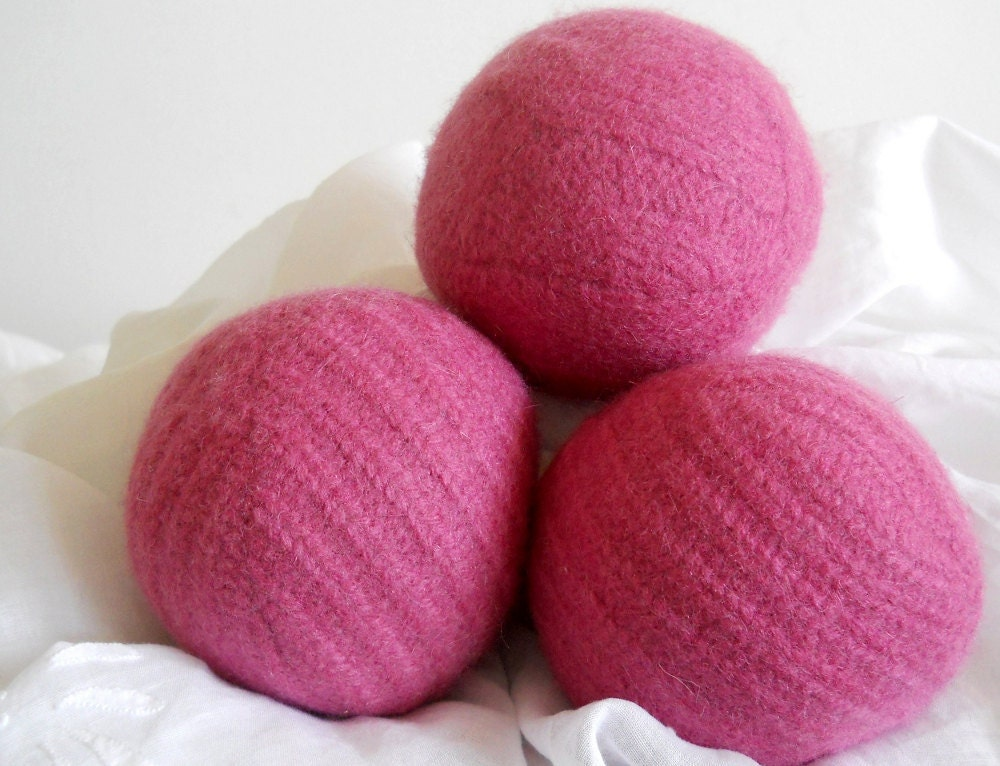 Knitting Pattern For Wool Dryer Balls : Wool Dryer Balls Magenta Cable-knit Set of 3 from Repurposed