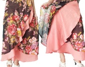 Peach Colored and Flower 2 Layers Long  Wrap Skirt Size S-2XL