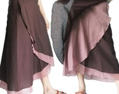 SALE 30% off - Brown 2 Tone Long Wrap Skirt SiZe S-XL