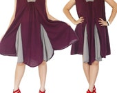 Plum and Grey Short Dress or Long Top