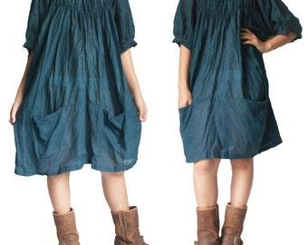 Teal Blue Cotton Short Dress XL to 3X