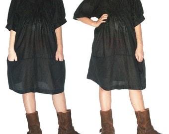 SALE 30% off - Black Cotton Short Dress XL to 3X