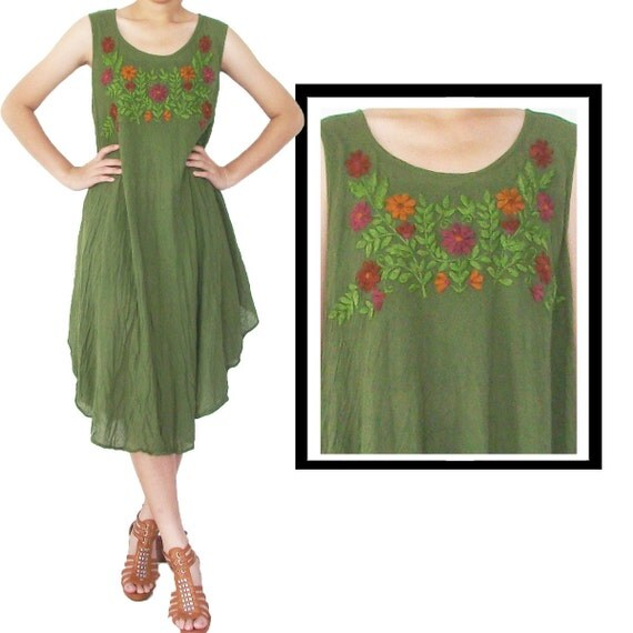 SALE....SALE....Green Simply Dress  with Embroidery