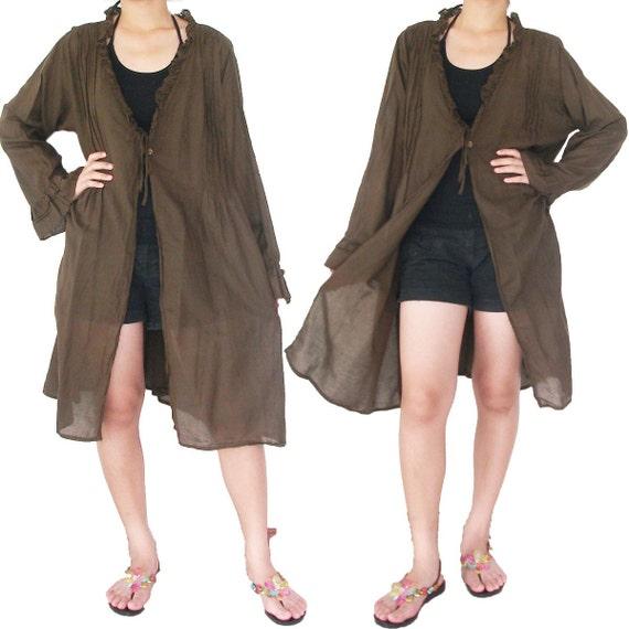 SALE 30% off - Brown Cotton Robe XL to 3X