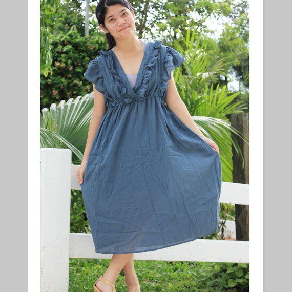 SALE 30% off - Dark Grey Ruffle Kimono Long Dress Fits L XL 2XL