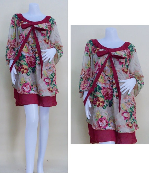 SALE 30% off - Creamy Flowers and  Burgundy 2 layers  Long Blouse or Shirt