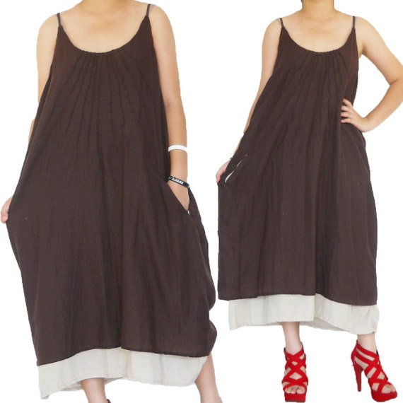 2 Layers Brown and Off white Simply Long Dress size L-2XL