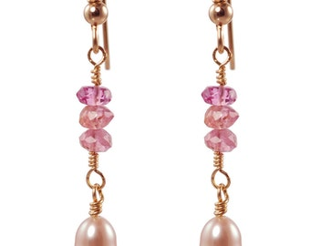 Pink Tourmalines & cream Pearls gold earrings