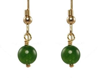Green Jade gold earrings