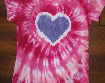 RTS -Ladies Short Sleeved Scoop Neck Valentine Heart Tie Dye Tee