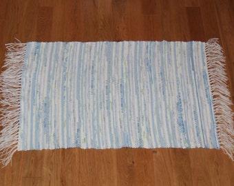 Handwoven Rag Rug - Light Blue