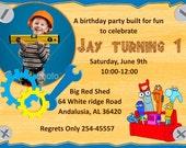 Construction 1st Birthday invitations   birthday party invitations   birthday invites   printable birthday invitations