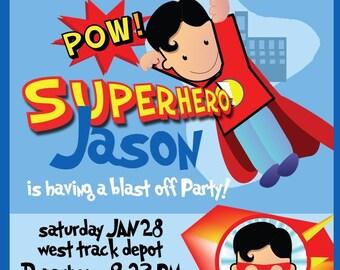 Super Hero Birthday Party Invitation - Digital printable invitation - PDF // JPG you choose