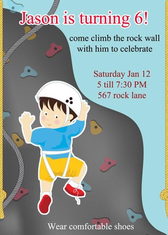 Rock Climbing Geburtstagseinladung, Rock Climbing Party, Geburtstag Party  Einladungen, (personalisierte) Digitale Druckbare Datei