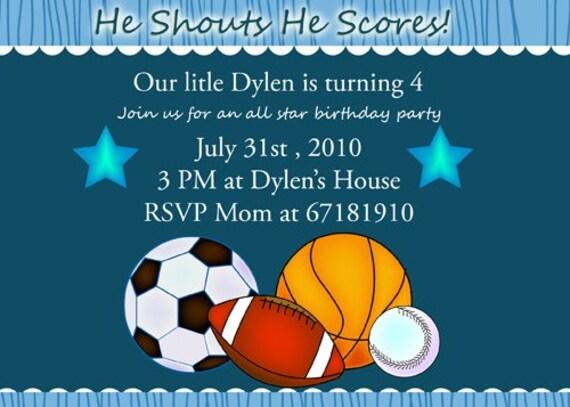Sports 1st Birthday invitations Boy birthday party – Sports Birthday Party Invitation