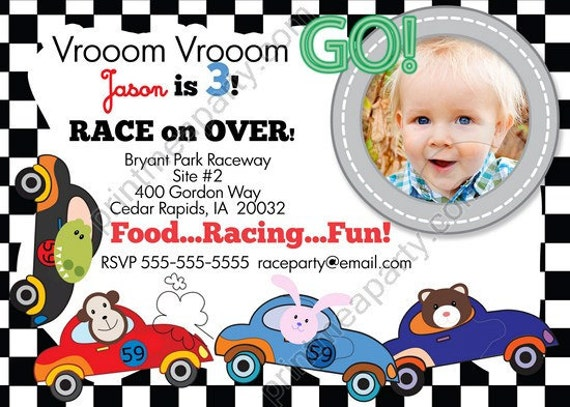 Items similar to Racing Car Birthday invitation Boy Racing Car – Sample of Birthday Invitation