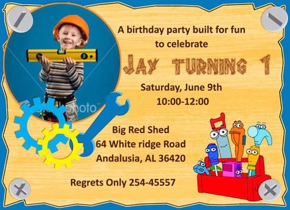 Construction 1st Birthday invitations birthday party – 1 Birthday Party Invitations