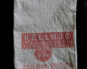 Rare Kellogg Milwaukee Bird Seed Cloth Sack Bag