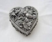 vintage heart jewelry box with birds, keepsake box with earrings and brooch, pewter, FREE SHIPPING
