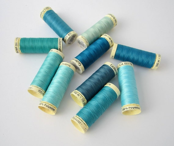 sewing thread best quality GUTERMANN 10 spools shades of blue, teal, aqua, turquoise  FREE SHIPPING