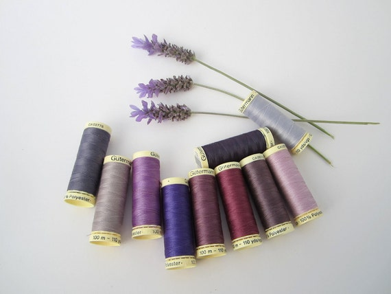 sewing thread best quality GUTERMANN 10 spools shades of purple, lilac, lavender, plum  FREE SHIPPING
