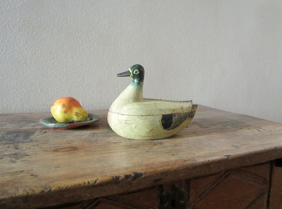 vintage duck wooden storage box thanksgiving decor handmade ethnic rustic home