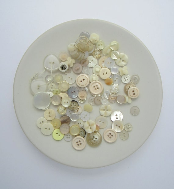 new buttons, over 100, assorted sizes and shapes, white, cream, ivory, FREE SHIPPING WORLDWIDE