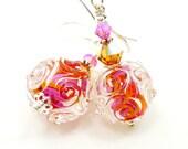 Lampwork Glass Earrings Bright Pink Orange Scroll Sterling Silver