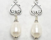 Pearl Drop Earrings, Pearl Earrings, Swarovski White Pearl Earrings, Heart Pearl Earrings
