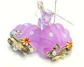 Seashell Earrings, Lampwork Earrings, Violet Glass Earrings, Glass Seashell Earrings, Purple Earrings, Beach Earrings, Ocean Earrings