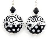 Lampwork Earrings, Glass Earrings, Black White Earrings, Polka Dot Glass Earrings, Glass Bead Earrings