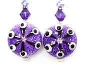 Purple Earrings, Lampwork Earrings, Glass Earrings, Glass Bead Earrings, Beaded Earrings, Beadwork Earrings
