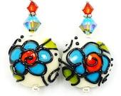 Floral Earrings, Lampwork Earrings, Glass Earrings, Turquoise Blue Orange Ivory Earrings, Glass Bead Earrings, Beadwork Earrings