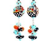 RESERVED for Susan Polka Dot Lampwork Earrings Turquoise Blue Bright Orange Black Sterling Silver