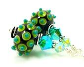 Bumpy Lampwork Earrings, Green Turquoise Black Glass Earrings, Glass Earrings, Lampwork Sterling Earrings