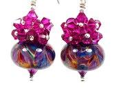 Hot Pink Purple Blue Glass Earrings, Boro Lampwork Earrings, Crystal Cluster Earrings, Glass Bead Earrings, Beaded Earrings