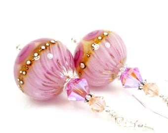 Pink Earrings, Lampwork Earrings, Glass Earrings, Glass Bead Earrings, Beadwork Earrings, Drop Earrings, Lampwork Jewelry