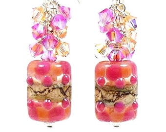 Pink Peach Earrings, Lampwork Earrings, Crystal Cluster Earrings, Beaded Earrings, Dangle Earrings, Beadwork Earrings