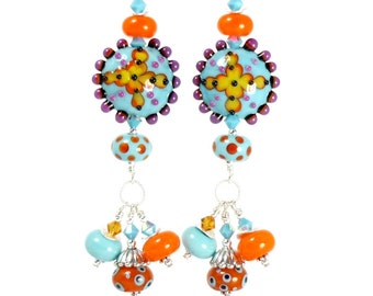 Southwestern Earrings, Lampwork Earrings, Colorful Earrings, Chandelier Earrings, Beaded Earrings, Glass Earrings, Beadwork Earrings