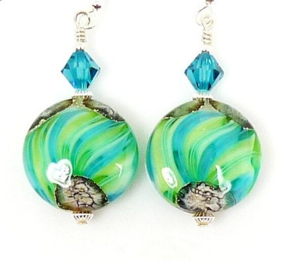 Teal Blue Lime Green Earrings, Lampwork Earrings, Glass Earrings, Glass Bead Earrings