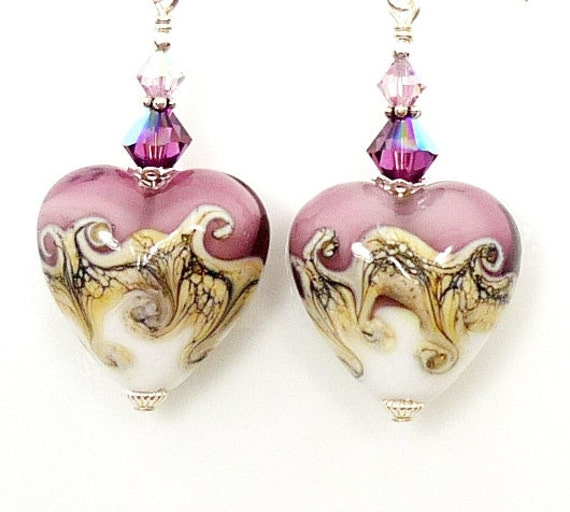Purple Heart Lampwork Earrings, Heart Glass Earrings, Valentine Earrings. Purple Lampwork Sterling Earrings