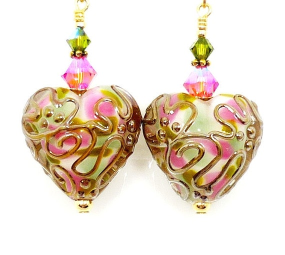 Heart Lampwork Earrings, Pink Heart Glass Earrings, Valentine Earrings, Pink Heart 14K Gold Filled Earrings