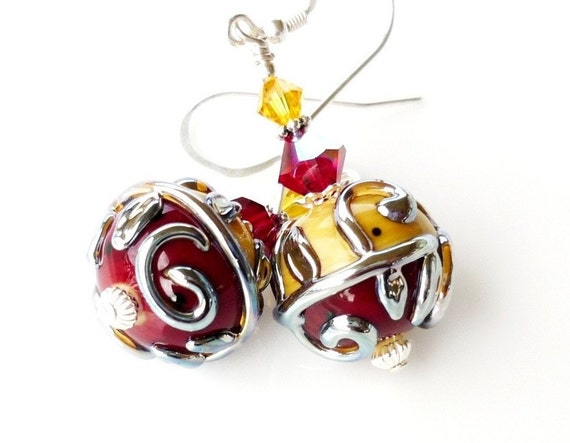 Red Yellow Earrings, Lampwork Earrings, Glass Bead Earrings, Red Earrings, Scroll Earrings, Beadwork Earrings