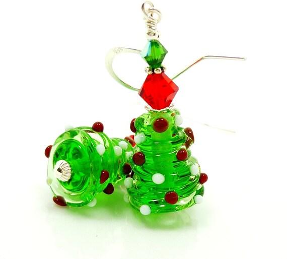 Christmas Tree Earrings, Christmas Jewelry, Lampwork Earrings, Green & Red Earrings, Beadwork Earrings, Glass Earrings, Christmas Earrings