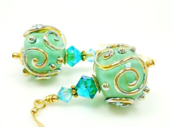 Teal Blue Earrings, Lampwork Earrings, Teal Glass Earrings, Glass Bead Earrings, 14K Gold Filled Earrings
