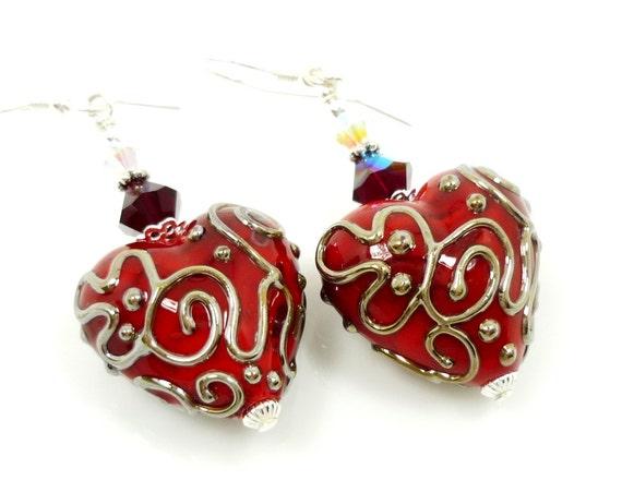 Red Heart Earrings, Lampwork Earrings, Glass Earrings, Glass Bead Earrings, Heart Jewelry, Beadwork Earrings, Valentine Earrings