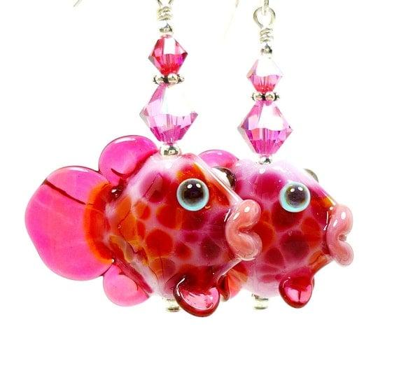 Fish Earrings, Fish Lampwork Earrings, Pink Glass Fish Earrings, Fish Sterling SIlver Earrings
