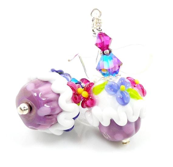 Cupcake Earrings, Floral Earrings, Lampwork Earrings, Glass Cupcake Earrings, Glass Bead Earrings, Beadwork Earrings
