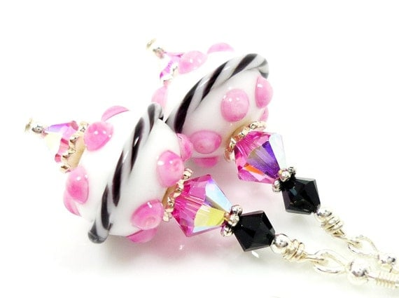 Pink White Black Earrings, Lampwork Earrings, Pink Glass Earrings, Glass Bead Earrings, Beadwork Earrings