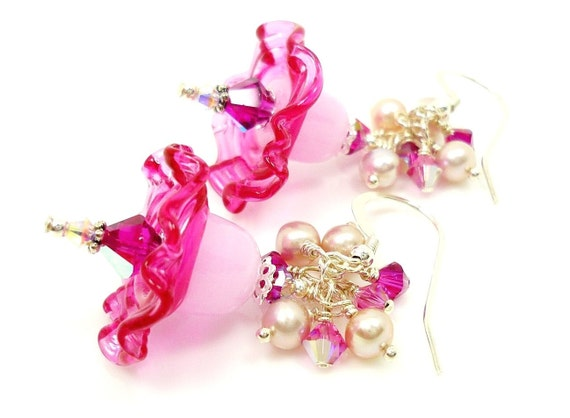 Pink Floral Lampwork Earrings Fuchsia Baby Pink Mauve Freshwater Pearl Crystal Sterling Silver